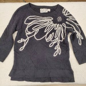 ANTHRO FIELD FLOWER embroidered pullover sweater